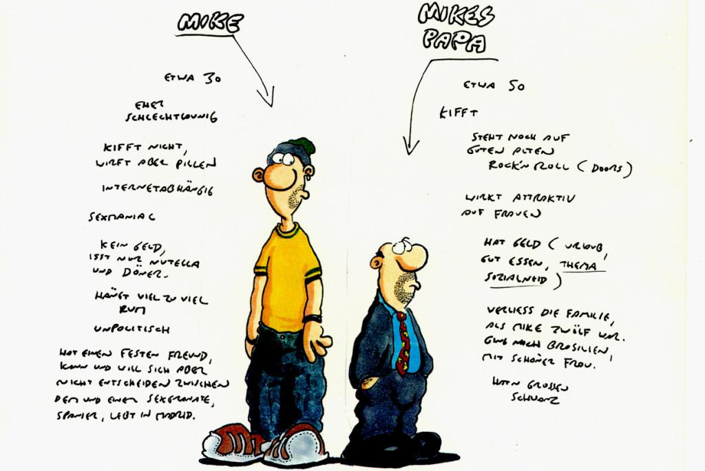"""Entwurf für den letztlich verworfenen Serienhelden """"Mike"""". © Ralf König"""