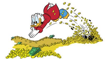 dagobert duck schwimmt im geld