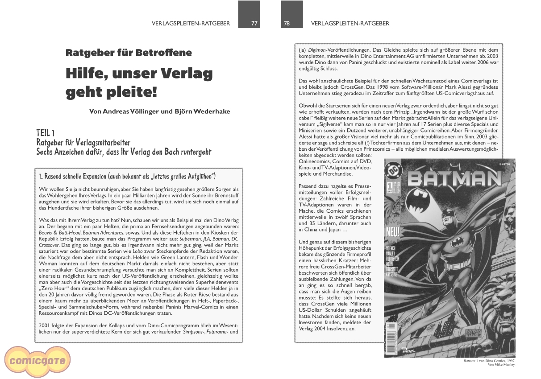 Comicgate-Magazin 7: Hilfe, unser Verlag geht Pleite!
