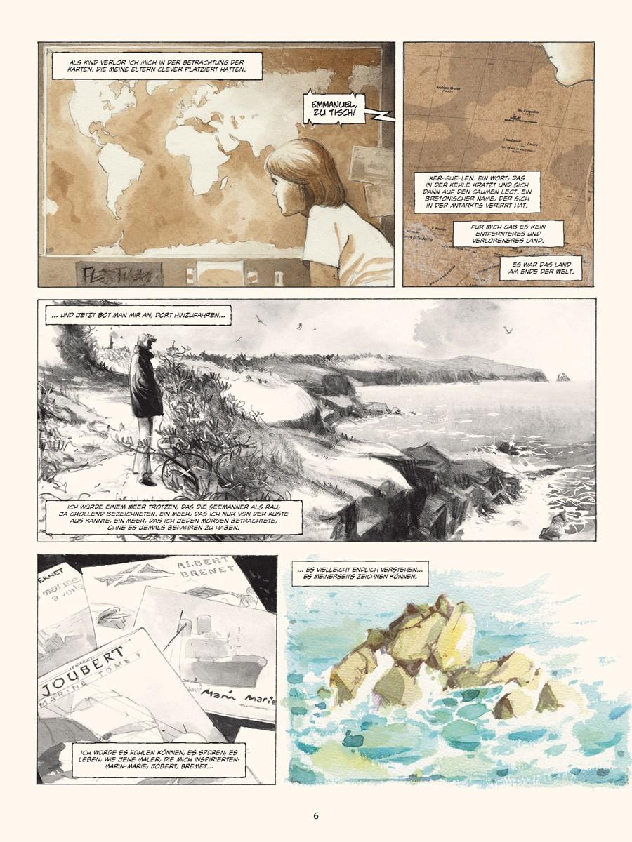 Seite aus Reise zum Kerguelen-Archipel