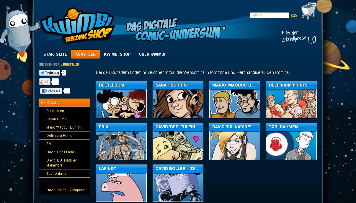 Screenshot der Kwimbi-Künstlerseite